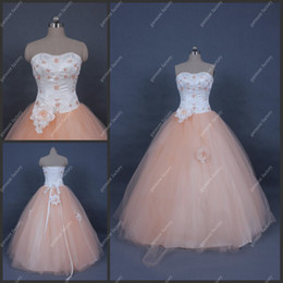 Wholesale Elegant Royal Princess Champage Embroidery Flower Lace Up Tulle Quinceanera Dress