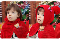 Wholesale Girl s Cappa Winter Hat with Scarf Neck Warmer Cherry ornament crochet hats new good baby