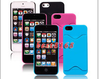 Plastic For Apple iPhone  Credit card ID slot Hard plastic case skin back cover cases For iphone 5 5G 5S 5th 55pcs