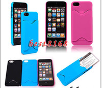 Plastic For Apple iPhone  Credit card ID slot Hard plastic case skin cover cases For iphone 5 5G 5S 5th 100 200pcs
