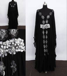 Wholesale 2013 Ankle Length Long Sleeve Crystal Black Kaftan Dubai Abaya