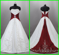 Wholesale Actual Image Cheap Wedding Dresses White A Line Strapless Red Applique Satin Wedding Gown