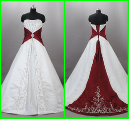 Actual Image 2012 Cheap Wedding Dresses White A Line Strapless Red Applique Satin Wedding Gown