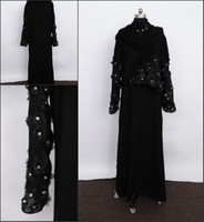 Real Photos High Collar Satin Floor Length Long Sleeve Beading Black Kaftan Dubai Abaya 2013