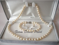 Wholesale pearl jewelry Genuine ROUND mm White Pearl Necklace pc SET quot silver clasp