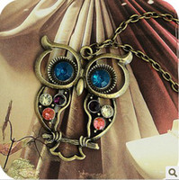 Bohemian best diamond prices - Popular Owl Necklace Vintage Style Colorful Cute Long Chain Diamond Owl necklace best price