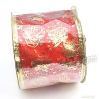 wired christmas ribbon - Good Sale Fashion Christmas Ornament Gift Box Shape Red Organza amp Wire Gold Blocking Ribbon