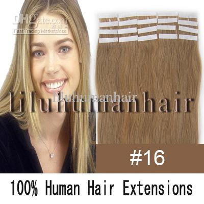 remy tape human hair extensions 16 ash blonde