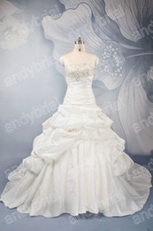 Wholesale In Stock Wedding Dresses USsize Strapless Appliques Corset Back Ball Gown Bridal Dresses
