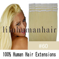 Wholesale 16 quot quot quot quot quot Remy Tape Human Hair Extensions white blonde per pack