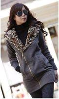 Wholesale Hot Sale Korea Women leopard fleece Hoodie Sweatshirt Jacket Coat Warm Outerwear Dark Gray