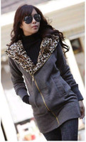 Women Cotton British Noble Fashion Korea Women leopard fleece Hoodie Sweatshirt Jacket Coat Warm Outerwear Dark Gray