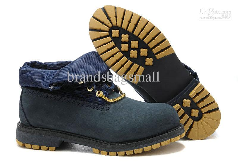 Mens Short Boots Fold Scarpe Waterproof Safety Boots Navy Blue Leather