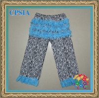 Wholesale Zebra print cotton baby pants with ruffles lace petti tights pairs