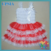 Wholesale Lovely white and red chiffon Christmas children dresses Hot sale24pcs