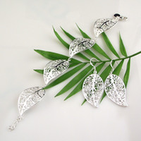 Wholesale 6 sets leaf shape women s silver bracelet earring set sterling silver jewelry set SSS