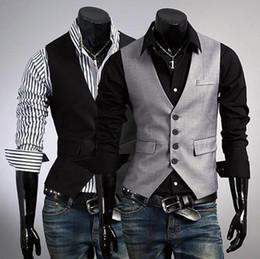 new Fashion men's Vests Slim Vest Outwear casual vest suits vests gray black 2436