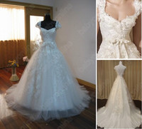 Actual Images V-Neck Tulle 2011 Babyonline Sexy A-Line Sweetheart Cap Sleeves Lace Appliques Beach Wedding Dresses WG004