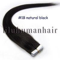 "Cheap 16""18""20""22"" Indian Remy Tape Human Hair Extensions #1B natural black 20pcs per pack"