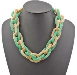 Bib Necklace New European Style Golden Enamel Circle Handmade Snake Chain mix color