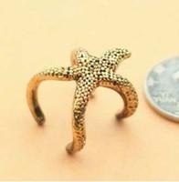 Wholesale Hot Sale Popular Brand Retro Gold Starfish Ring Christmas Gift Fashion Couple Rings