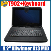 Wholesale Xmas inch A13 T902 Allwinner A13 Dual Camera Android Tablet PC inch Keyboard Leather Case