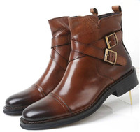 Ankle Boots Cowskin Flat Heel FREE.SH British dress shoes men fashionable leather men's business suits short boots leather boots