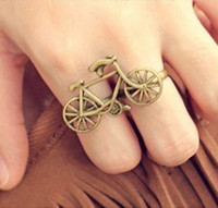 Celtic bicycles vintage style - Bike bicycle Double Fingers Ring Vintage Style Adjustable Bronze Alloy Two Finger Rings Free Shippin