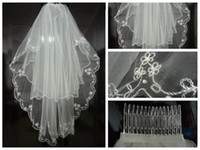 Wholesale new Stock T ivory White Veil Elbow Beaded Edge Embroidery Pearls Hem Bridal Wedding Veil With Comb