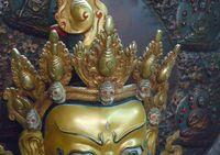 Metal buddha statues - A finely quot huge Tibetan gilt bronze turquoise silver Vaishravana buddha statue