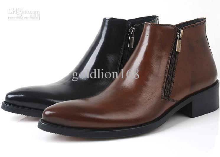 Autumn Winter High Top Shoes, Men's Shoes Zipper Cowhide England ...
