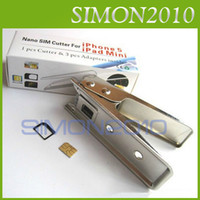 Wholesale Nano sim card cutter and adapters for iphone G th amp ipad mini Micro stainless steel stock new