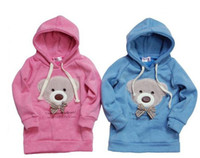 bearing guard - 2012 NEW blue pink colors Bowknot bear Hoodie bear children fleeces guard coat