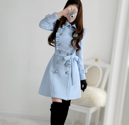 Wholesale Brand new good quality lotus navy blue army style Women wool dust coat wind coat