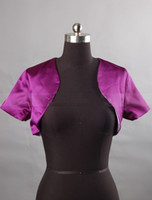 Wholesale Wedding Fuchsia short sleeve Bride bridesmaid satin jacket bolero