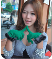 Wholesale New Fashion hot sale Winter Warm Rabbit Wool Blend Kintting Gloves Candy Colors Solid color Gloves