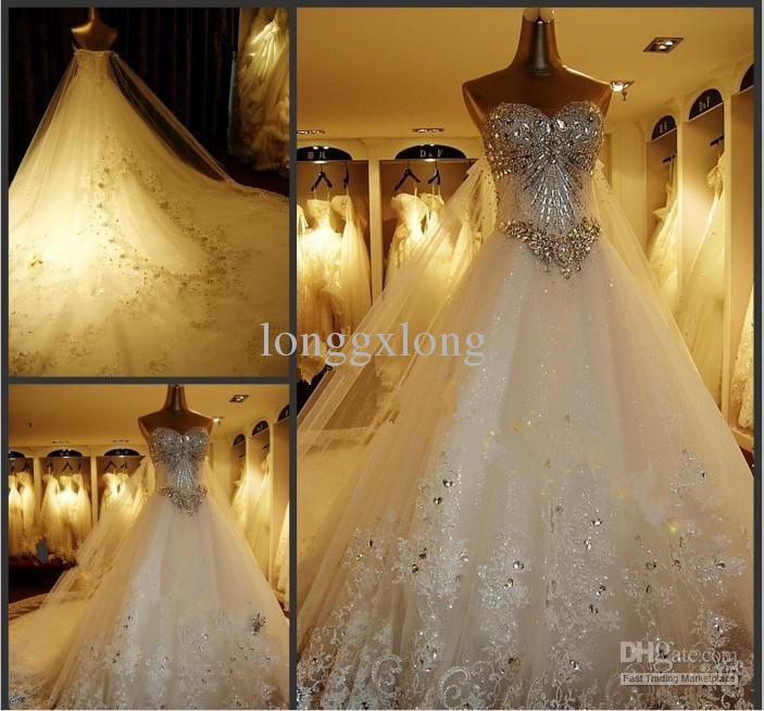 hot sale dazzling beadings swetheart tulle lace actual images custom made wedding dresses one meter tail