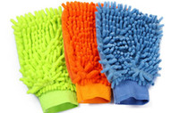 Wholesale 10pcs single side high density chenille fiber coral type car washing gloves