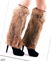Hotel Shoe Uppers Black The whole skin rabbit hair feet set of leg sleeve shoe covers fur boots set of feather 40CM Straw co