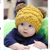 Wholesale crochet baby hats double ball caps knitting wool hats baby hand made hats caps good baby