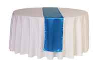 100% Polyester table cloth - 280CM Round Polyester Table Cloth With Blue Satin Table Runner For Wedding Decoration