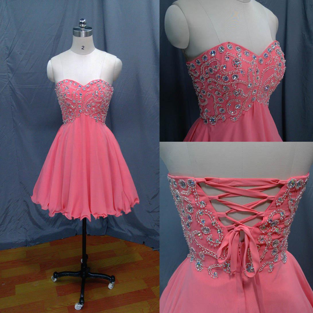 Hot Sale Sexy Fashion Sweetheart Pink Chiffon Full Crystal Beading ...