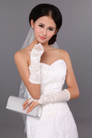Wholesale In Stock Real Simple Lace Beaded Stretchy Hot Sell White Satin Wedding Party Bridal Gloves G6