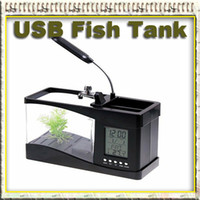 Wholesale Mini USB Fish Tank with LCD Desktop Lamp white amp black are available