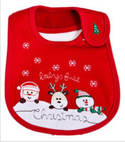 Wholesale Christmas Cotton Baby Bibs layers waterproof Feeding Cartoon infant babies bib