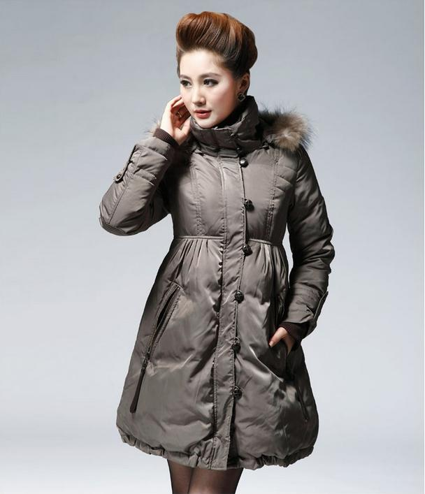 2017 New Women Big Size Long Down Jacket Feather Dress Garment