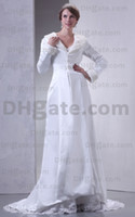 Actual Images Satin Simple 2012 Charming Elegant Fur A-line Wedding Overcoat Long Sleeves Dresses Chapel Bridal Gowns C8994