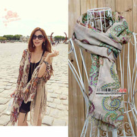 Wholesale Lady scarf Women folk style Sunscreen Shawl Scarf Keep warm Floral Printing Tassels Silk scarf