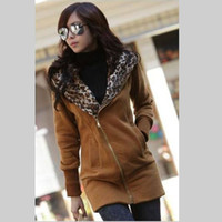 Wholesale New arrival Leopard outcoat fashion winter fleeces casual Hooded Hoody women s outerwear Hoodies