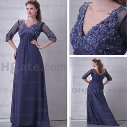 Mother of the Bride Dresses V-neck 3 4 Sleeves A-line Floor Length Chiffon Prom Real Actual Image